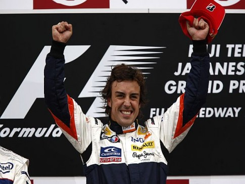 Alonso na podium - GP Japonii 2008