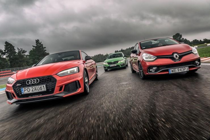 Audi RS 5 vs Renault Clio R.S. Trophy vs Skoda Octavia RS